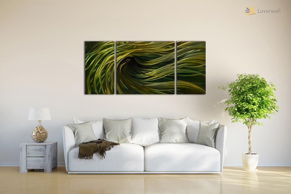 Luvurwall 3 Panel Green Abstract Metal Wall Art, Metal Wall Art - Luvurwall
