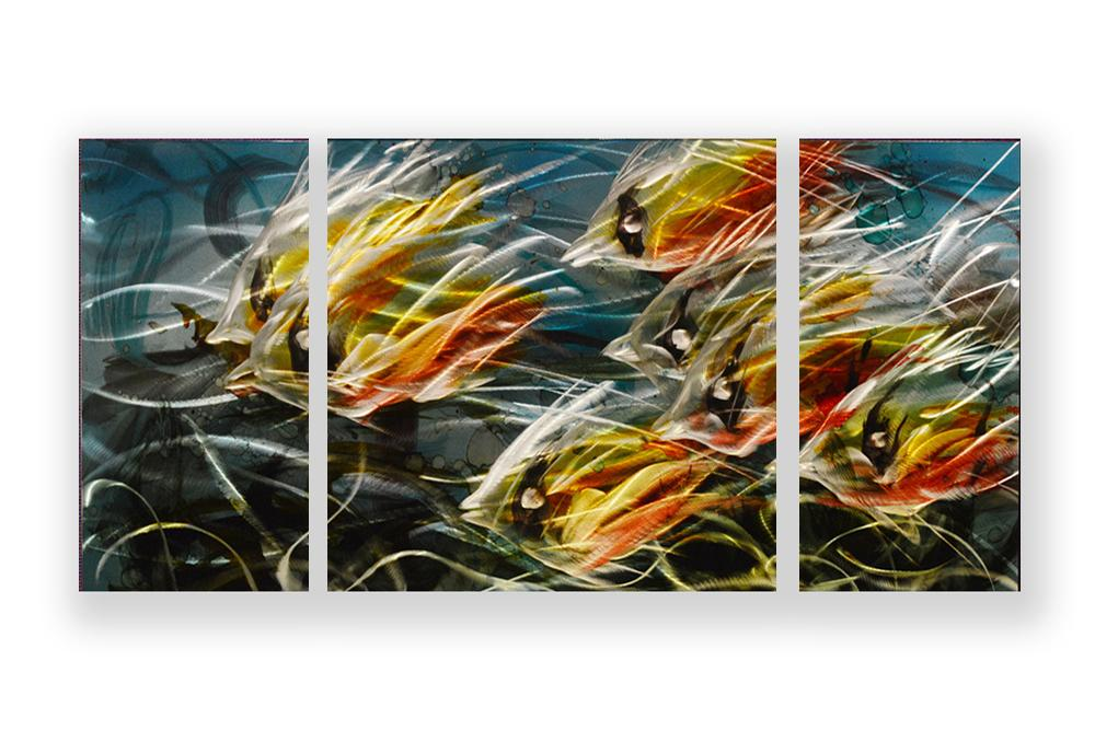 Luvurwall 3 Panel School of Fish Metal Wall Art, Metal Wall Art - Luvurwall