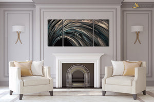 Luvurwall 3 Panel Gray Abstract Metal Wall Art, Metal Wall Art - Luvurwall