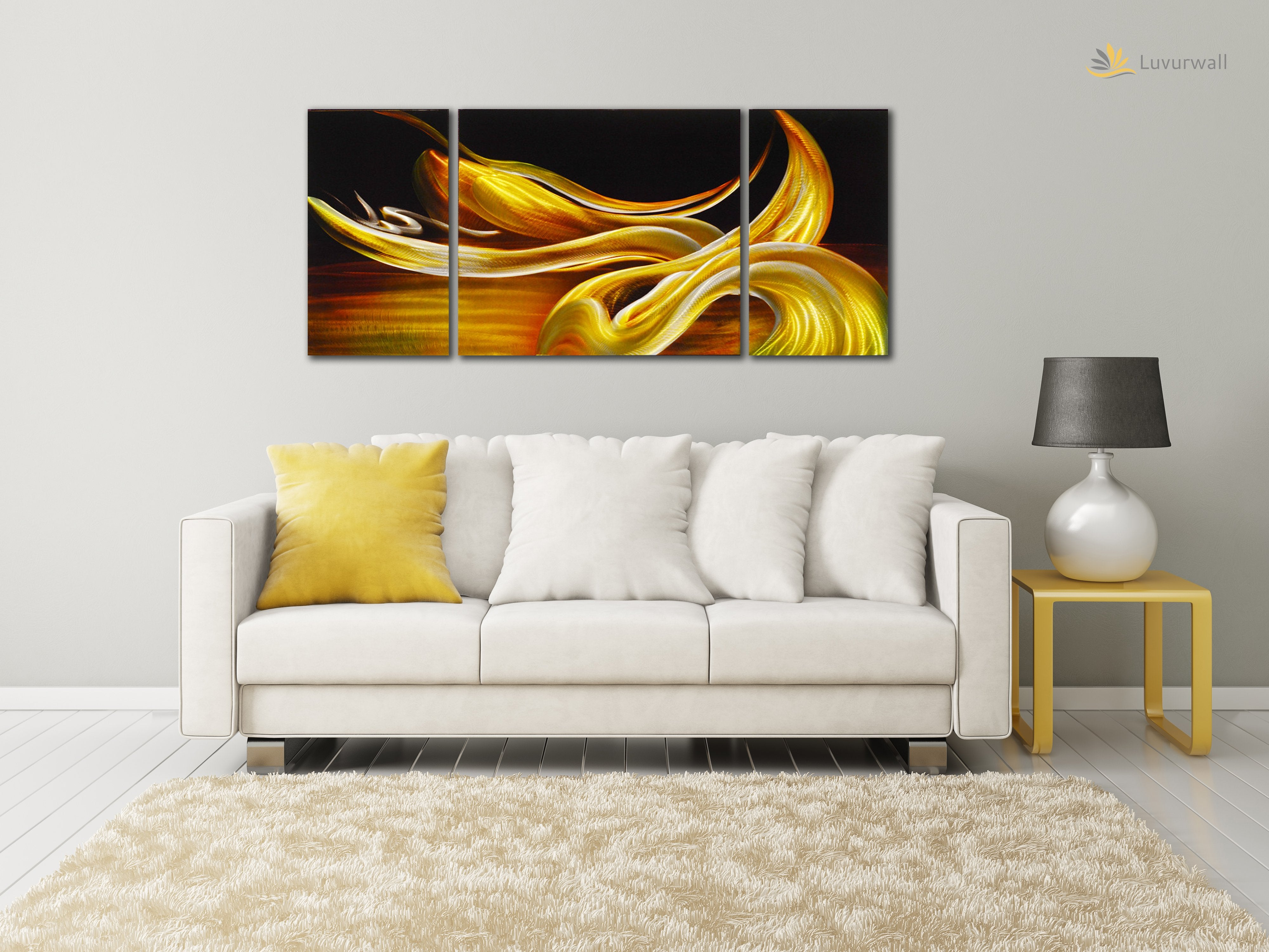 Luvurwall 3 Panel Yellow Abstract Metal Wall Art, Metal Wall Art - Luvurwall