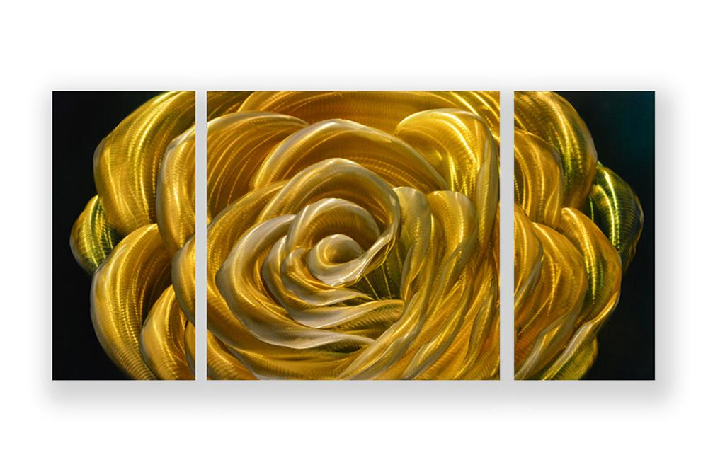Luvurwall 3 Panel Yellow Rose Metal Wall Art, Metal Wall Art - Luvurwall