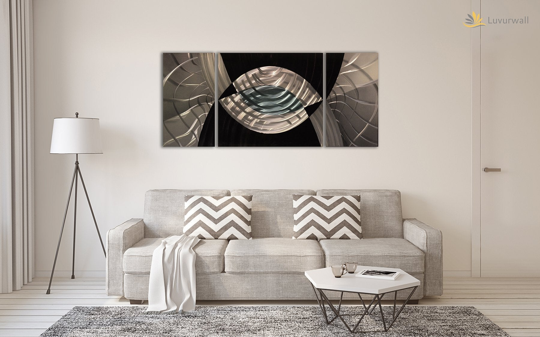 Luvurwall 3 Panel Monochrome Abstract Metal Wall Art, Metal Wall Art - Luvurwall