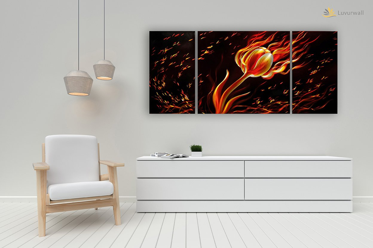 Luvurwall 3 Panel Fiery Flower Metal Wall Art, Metal Wall Art - Luvurwall