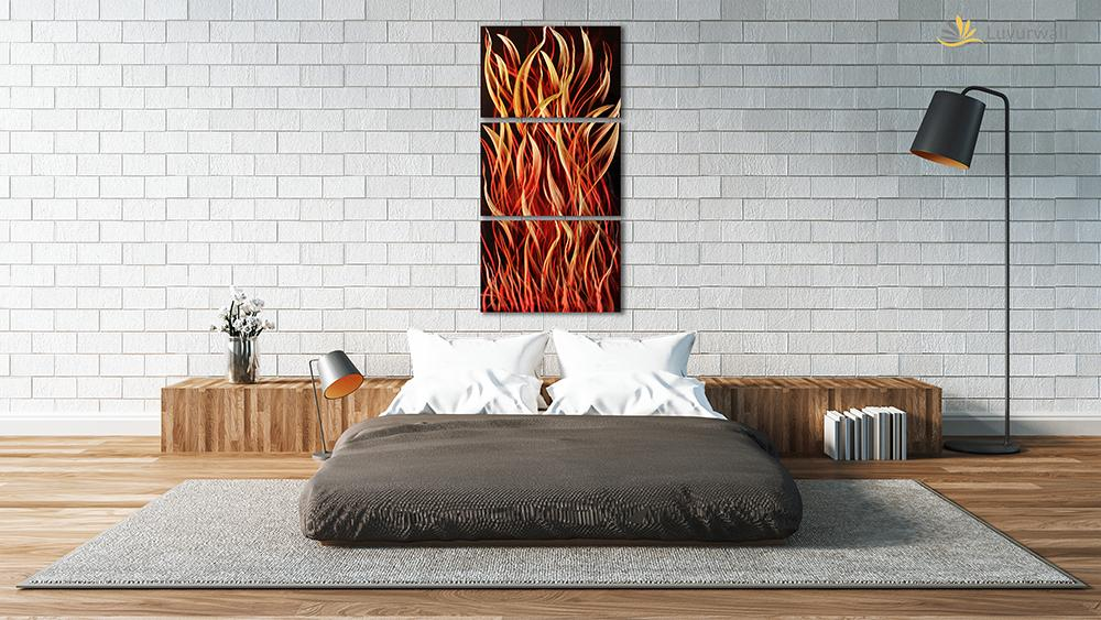 Luvurwall 3 Panel Fire Metal Wall Art, Metal Wall Art - Luvurwall