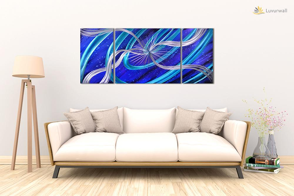 Luvurwall 3 Panel Blue Abstract Metal Wall Art, Metal Wall Art - Luvurwall