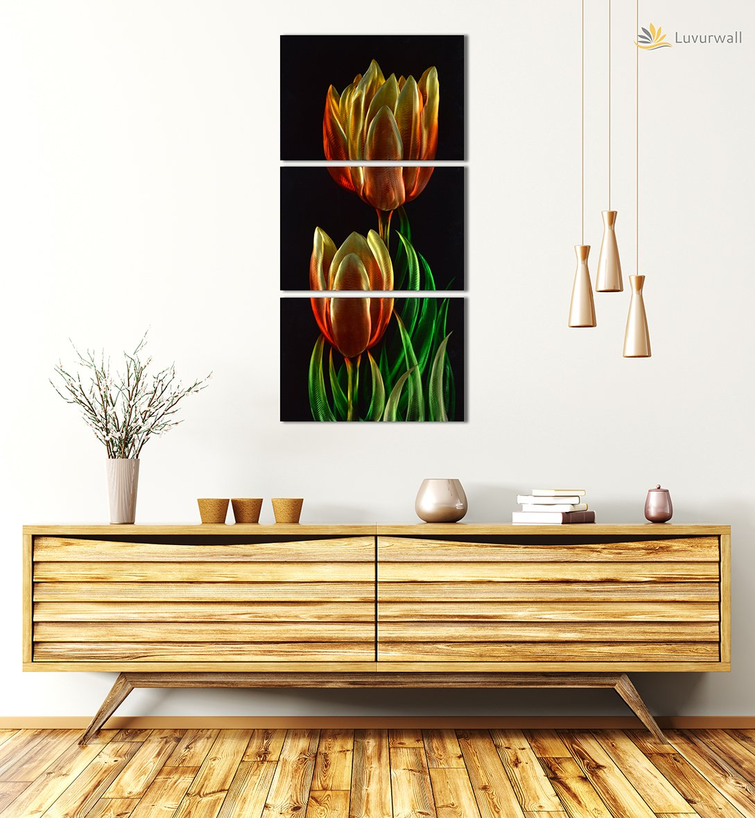 Luvurwall 3 Panel Tulips Metal Wall Art, Metal Wall Art - Luvurwall