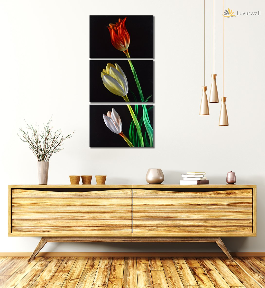 Luvurwall 3 Panel Multi Colored Flower Metal Wall Art, Metal Wall Art - Luvurwall