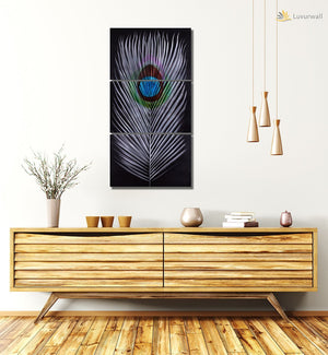 Luvurwall 3 Panel Feather Design Metal Wall Art, Metal Wall Art - Luvurwall