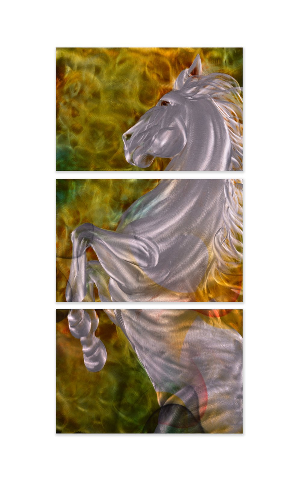 Luvurwall 3 Panel Vertical Horse Metal Wall Art, Metal Wall Art - Luvurwall