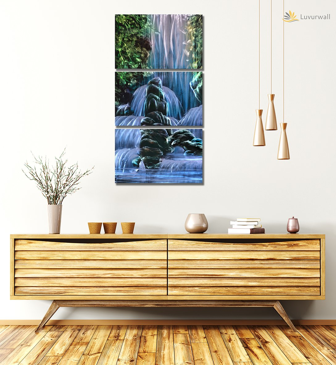 Luvurwall 3 Panel Water Falls Metal Wall Art, Metal Wall Art - Luvurwall