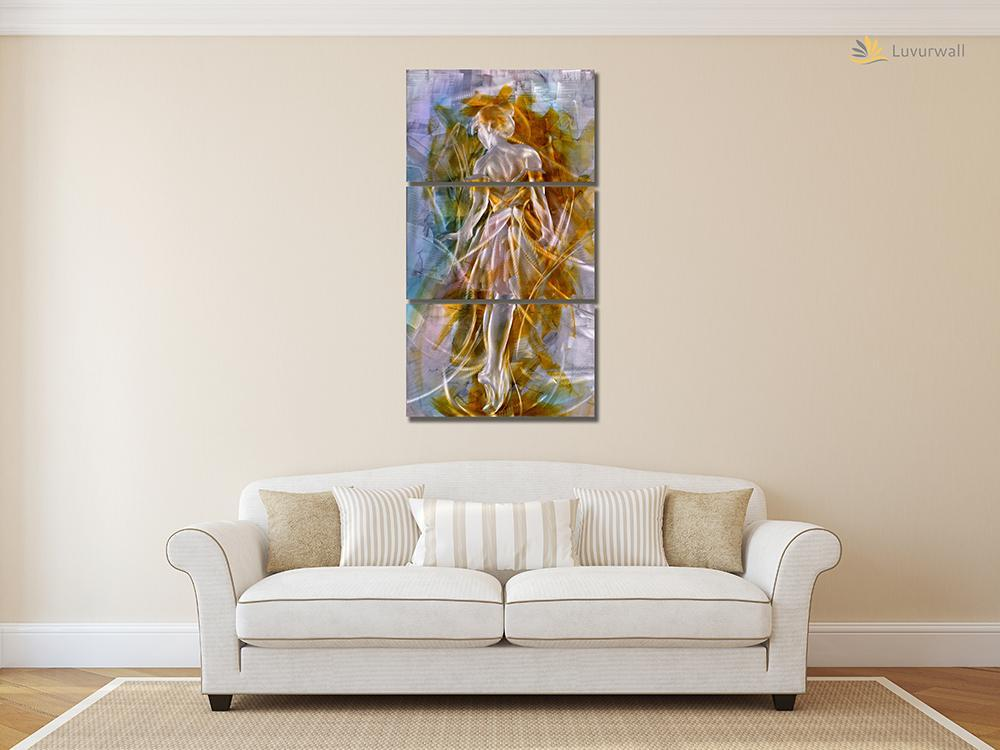 Luvurwall 3 Panel Ballerina Metal Wall Art, Metal Wall Art - Luvurwall