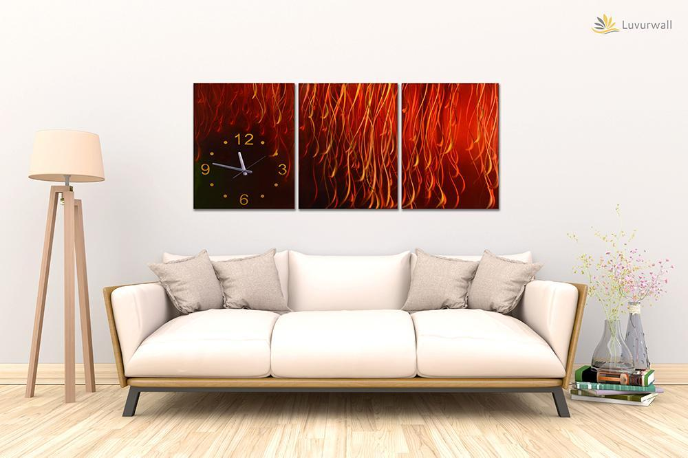 Luvurwall 3 Panel Time Abstract Metal Wall Art, Metal Wall Art - Luvurwall