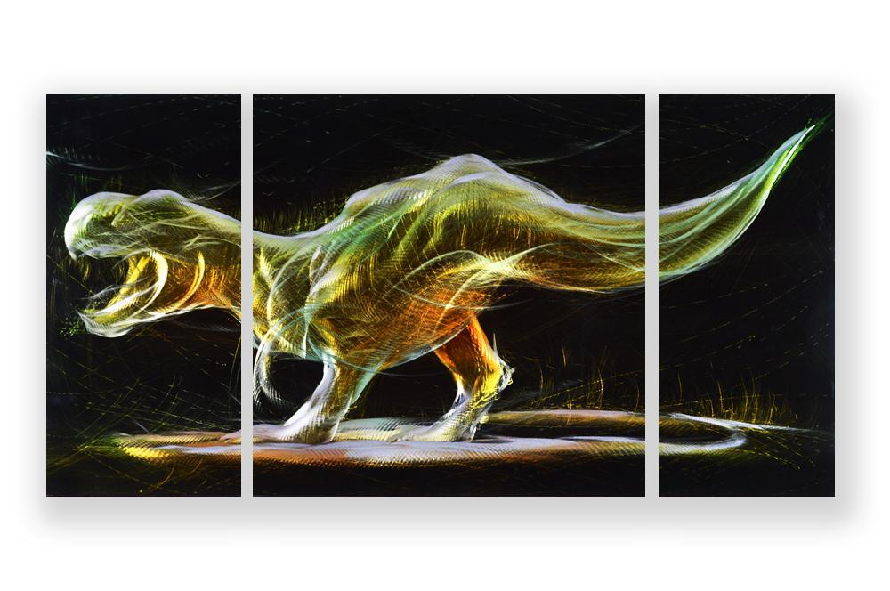 Luvurwall 3 Panel Dinosaur Metal Wall Art, Metal Wall Art - Luvurwall