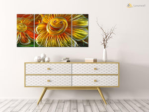 Luvurwall 3 Panel Happy Flower Metal Wall Art, Metal Wall Art - Luvurwall
