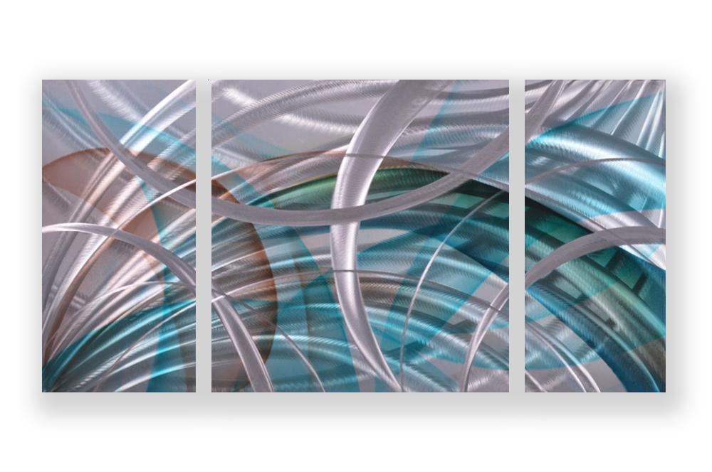 Luvurwall 3 Panel Circular Abstract Metall Wall Art, Metal Wall Art - Luvurwall