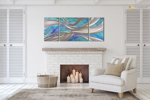 Luvurwall 3 Panel Sky Blue Abstract Metal Wall Art, Metal Wall Art - Luvurwall