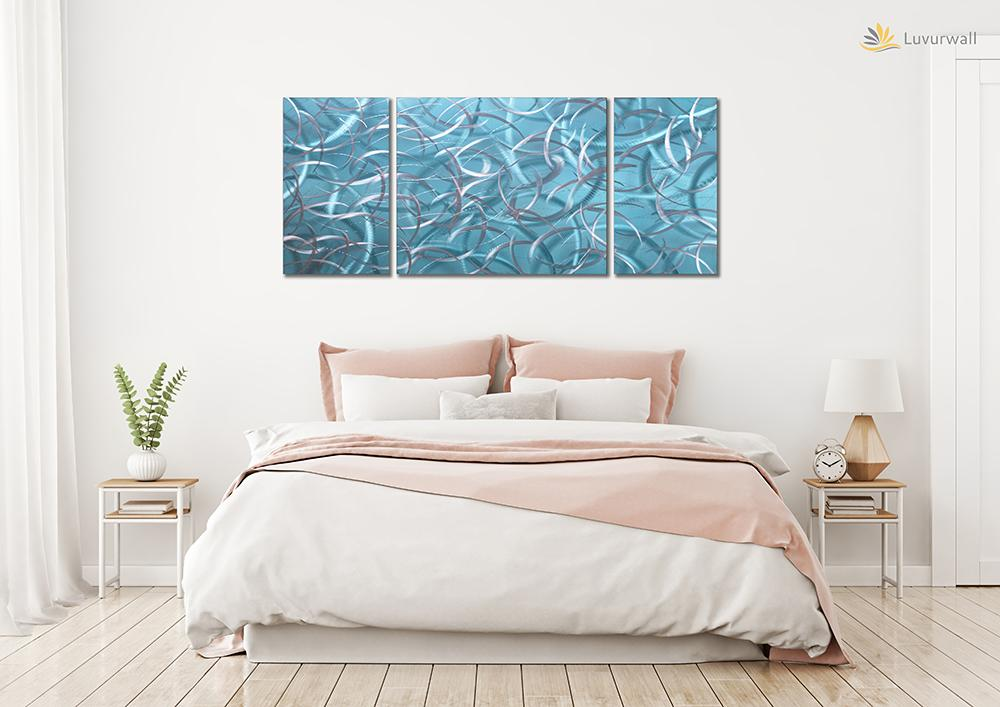 Luvurwall 3 Panel Sky Blue Feather Metal Wall Art, Metal Wall Art - Luvurwall