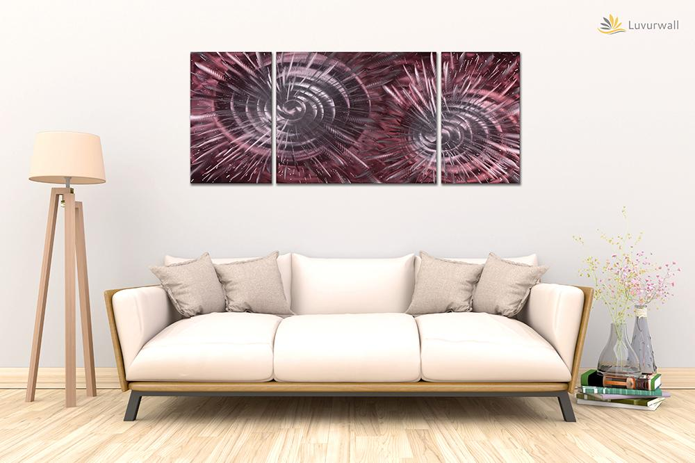 Luvurwall 3 Panel Red Abstract Metal Wall Art, Metal Wall Art - Luvurwall