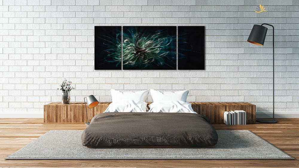Luvurwall 3 Panel Abstract in Black Background Metal Wall Art, Metal Wall Art - Luvurwall