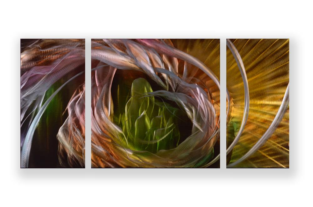 Luvurwall 3 Panel Multi Colored Abstract Metal Wall Art, Metal Wall Art - Luvurwall