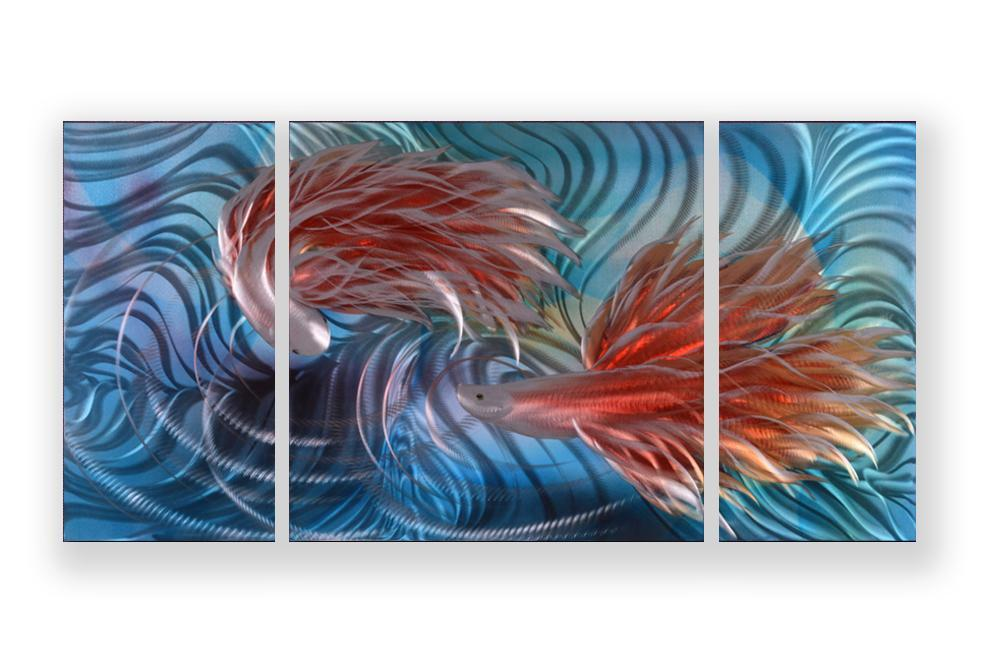 Luvurwall 3 Panel Fish Metal Wall Art, Metal Wall Art - Luvurwall