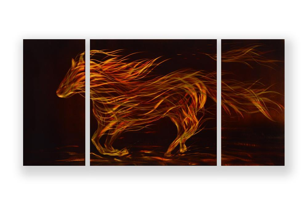 Luvurwall 3 Panel Golden Horse Metal Wall Art, Metal Wall Art - Luvurwall