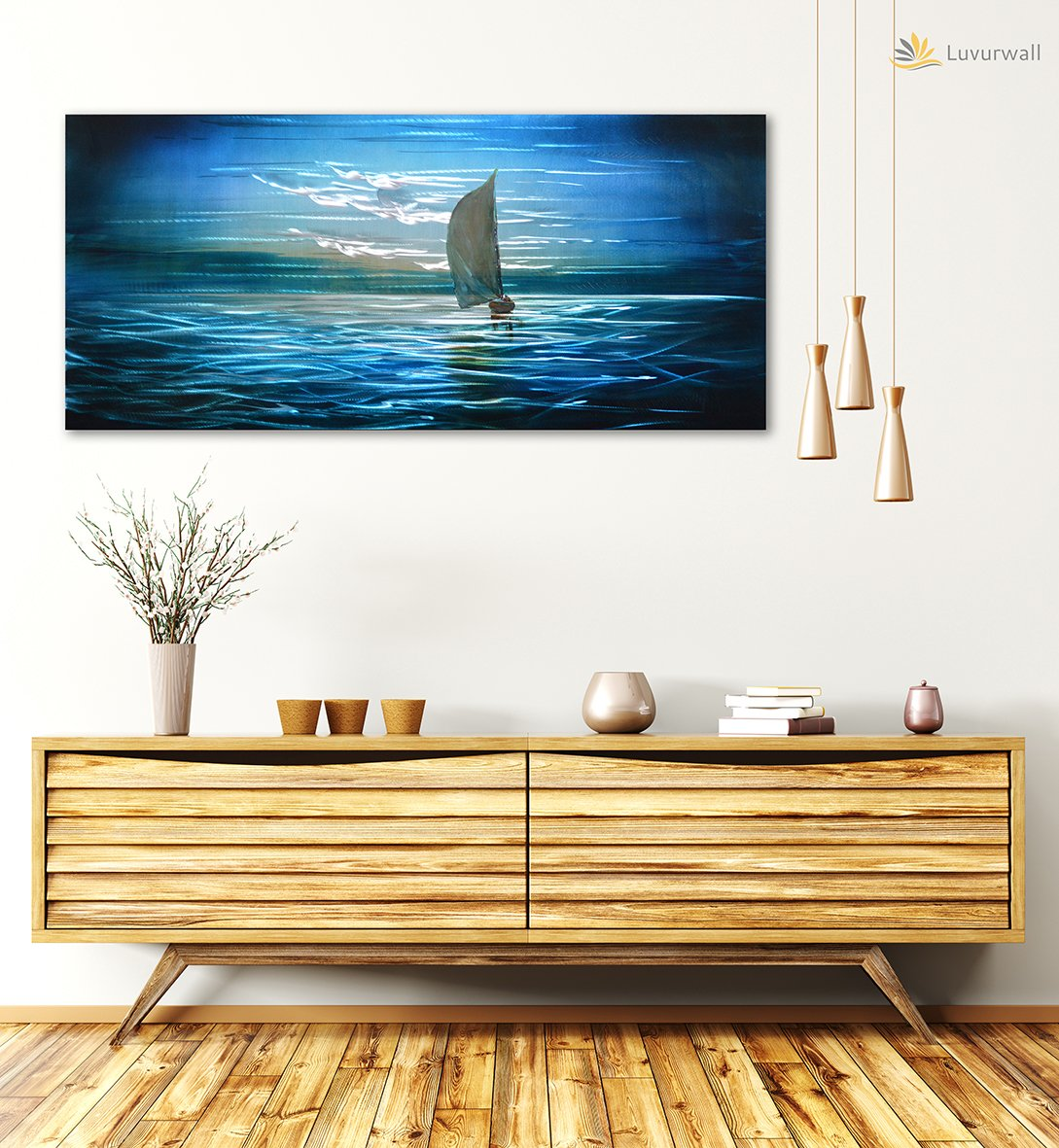Luvurwall Small Boat Metal Wall Art, Metal Wall Art - Luvurwall