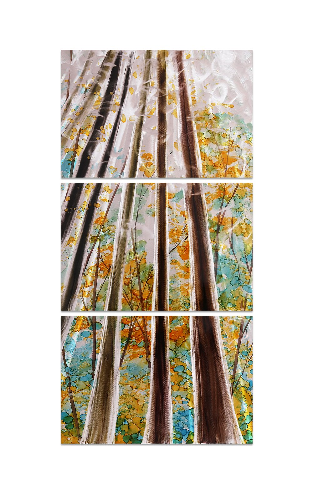 Luvurwall 3 Panel Woods Metal Wall Art, Metal Wall Art - Luvurwall