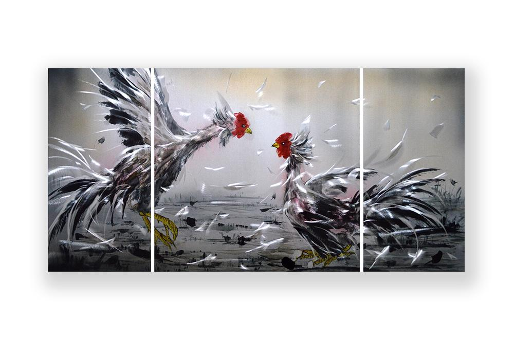 Luvurwall 3 Panel Fighting Roosters Metal Wall Art, Metal Wall Art - Luvurwall
