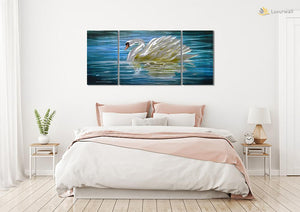 Luvurwall 3 Panel Swan Metal Wall Art, Metal Wall Art - Luvurwall