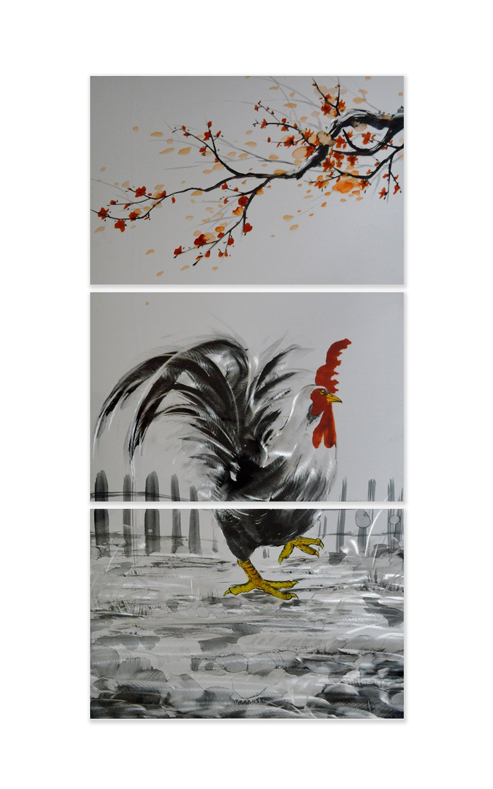 Luvurwall 3 Panel Rooster Metal Wall Art, Metal Wall Art - Luvurwall