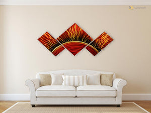 Luvurwall 3 Panel Fiery Sun Metal Wall Art, Metal Wall Art - Luvurwall