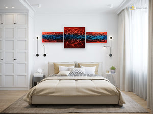 Luvurwall 3 Panel Blue & Red Abstract Metal Wall Art, Metal Wall Art - Luvurwall