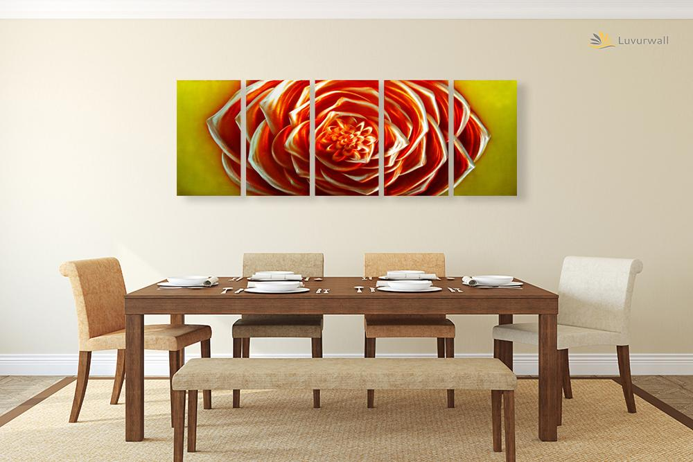 Luvurwall 5 Panel  Big Red Flower Metal Wall Art, Metal Wall Art - Luvurwall