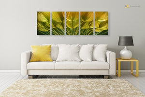 Luvurwall 5 Panel Yellow Tulips Metal Wall Art, Metal Wall Art - Luvurwall