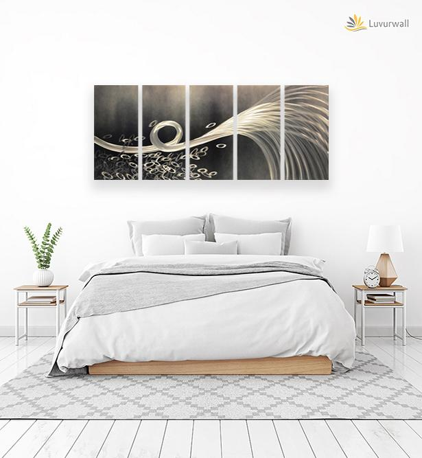 Luvurwall 5 Panel Black & White Abstract Metal Wall Art, Metal Wall Art - Luvurwall