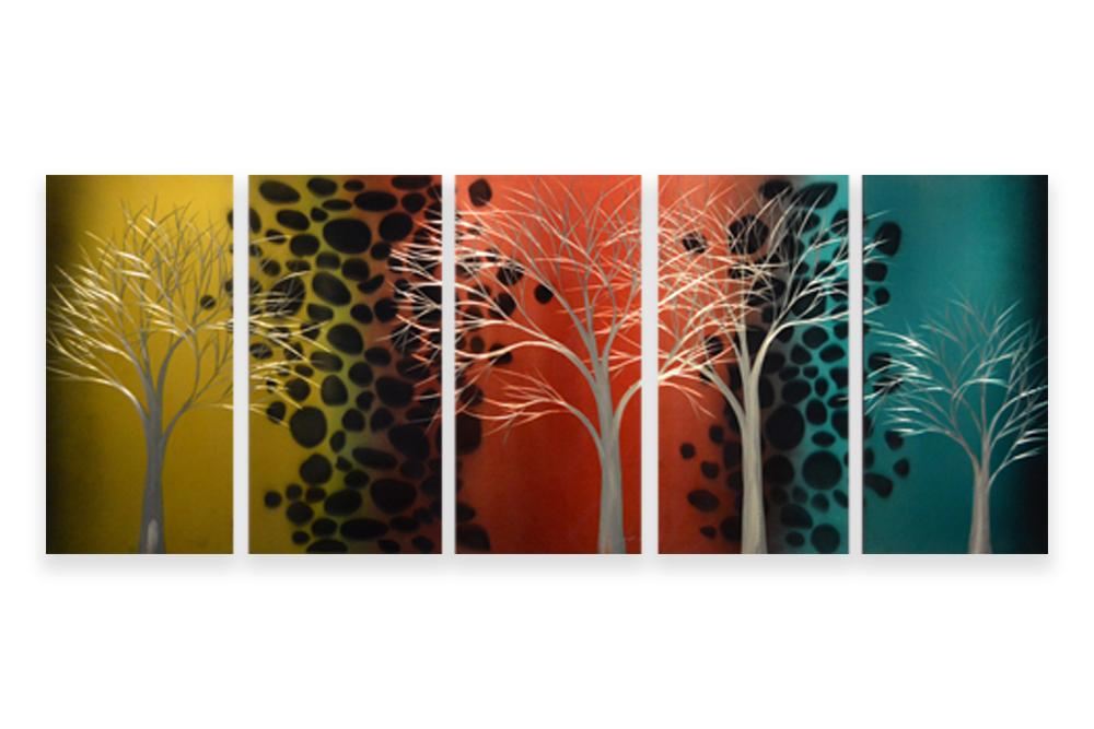 Luvurwall 5 Panel Tree with Multi Colored Background Metal Wall Art, Metal Wall Art - Luvurwall
