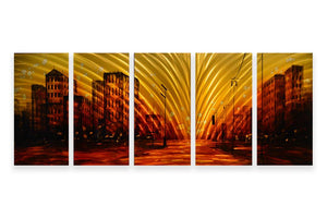 Luvurwall 5 Panel Street View Metal Wall Art, Metal Wall Art - Luvurwall