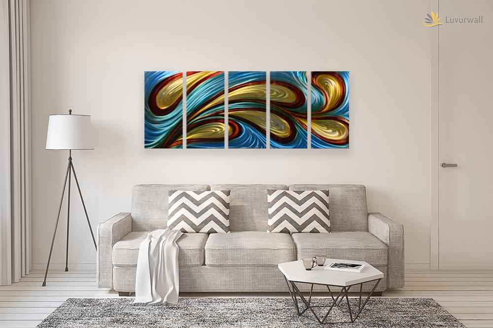 Luvurwall 5 Panel Multi Colored Abstract Metal Wall Art, Metal Wall Art - Luvurwall