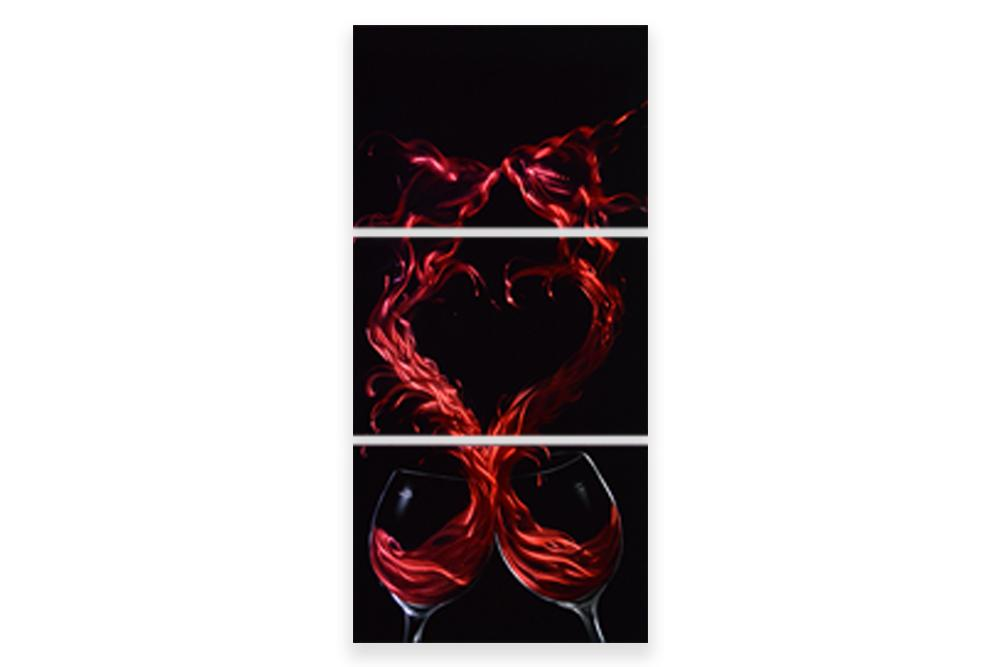 Luvurwall 3 Panel Red Wine Metal Wall Art, Metal Wall Art - Luvurwall