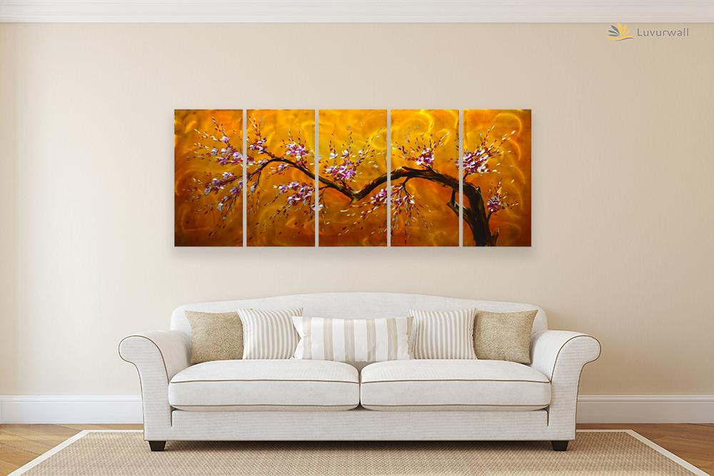 Luvurwall 5 Panel Cherry Blossom Metal Wall Art, Metal Wall Art - Luvurwall