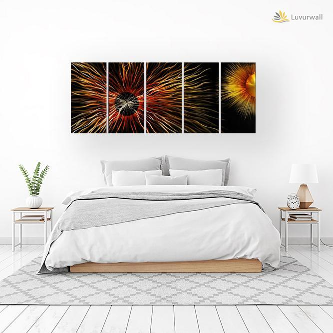 Luvurwall 5 Panel Sun and Moon Metal Wall Art, Metal Wall Art - Luvurwall
