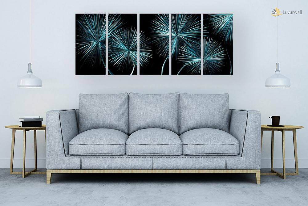 Luvurwall 5 Panel Snow Flower Metal Wall Art, Metal Wall Art - Luvurwall