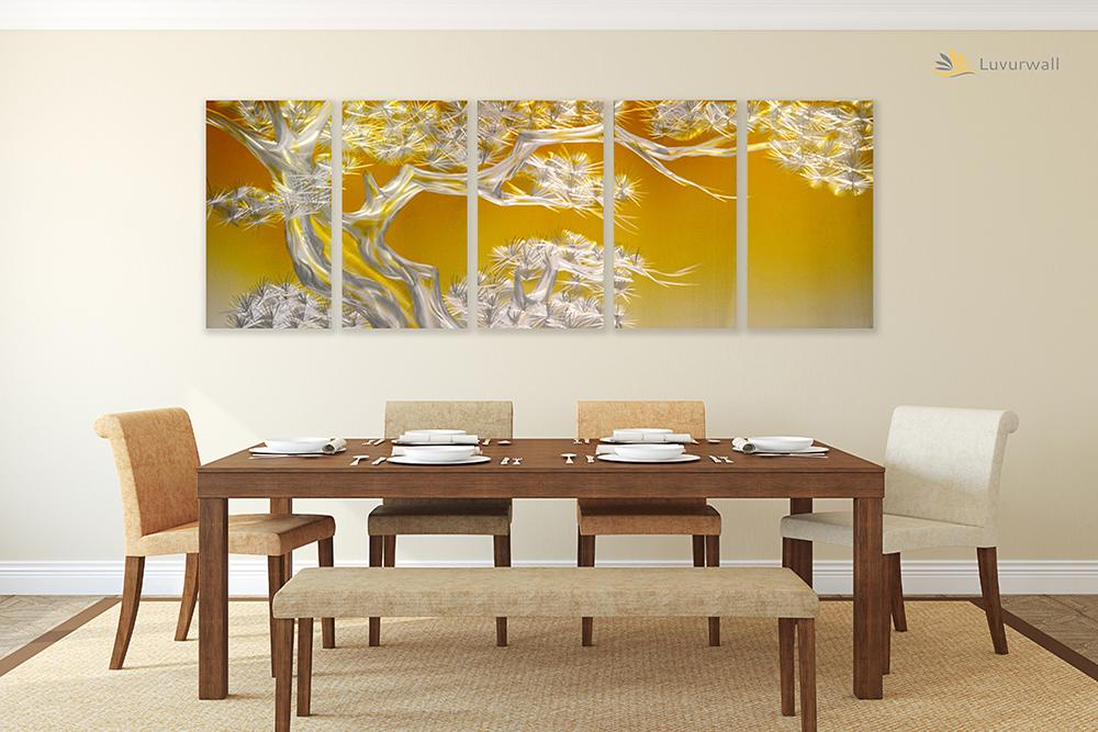 Luvurwall 5 Panel White Tree Metal Wall Art, Metal Wall Art - Luvurwall
