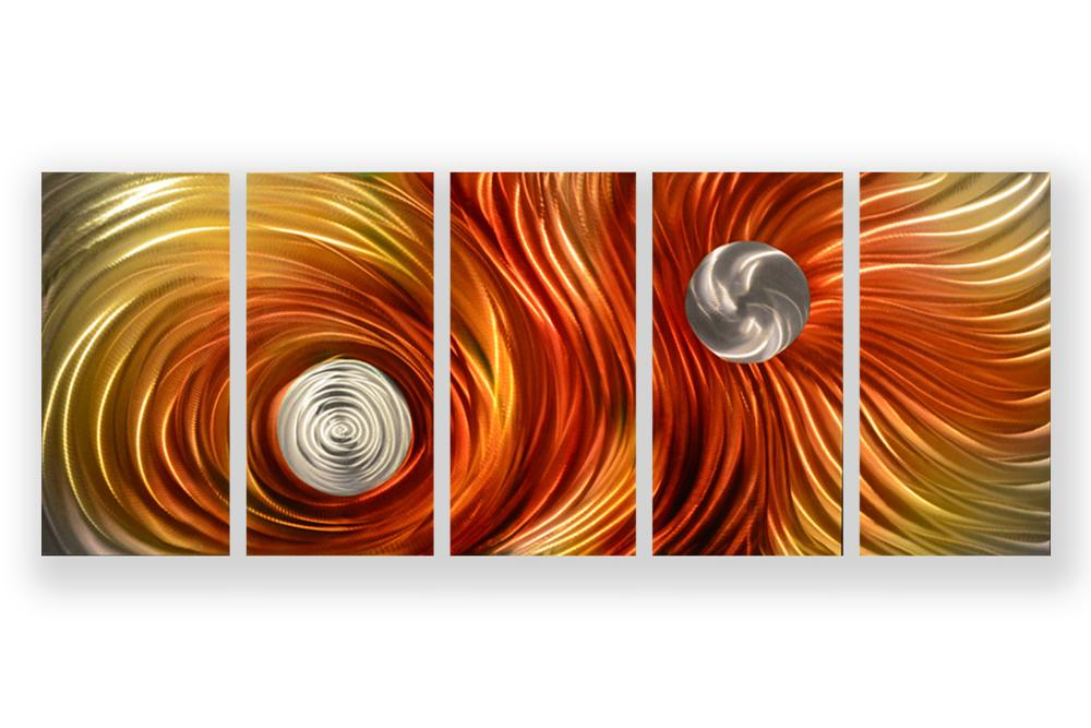 Luvurwall 5 Panel Circular Abstract Metal Wall Art, Metal Wall Art - Luvurwall