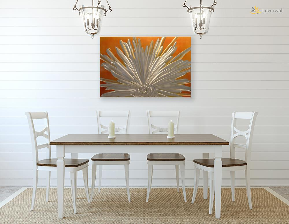 Luvurwall White Flower Metal Wall Art, Metal Wall Art - Luvurwall