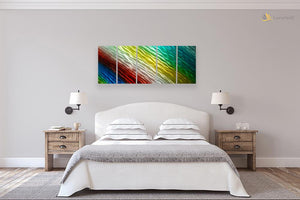 Luvurwall 5 Panel Rainbow Metal Wall Art, Metal Wall Art - Luvurwall