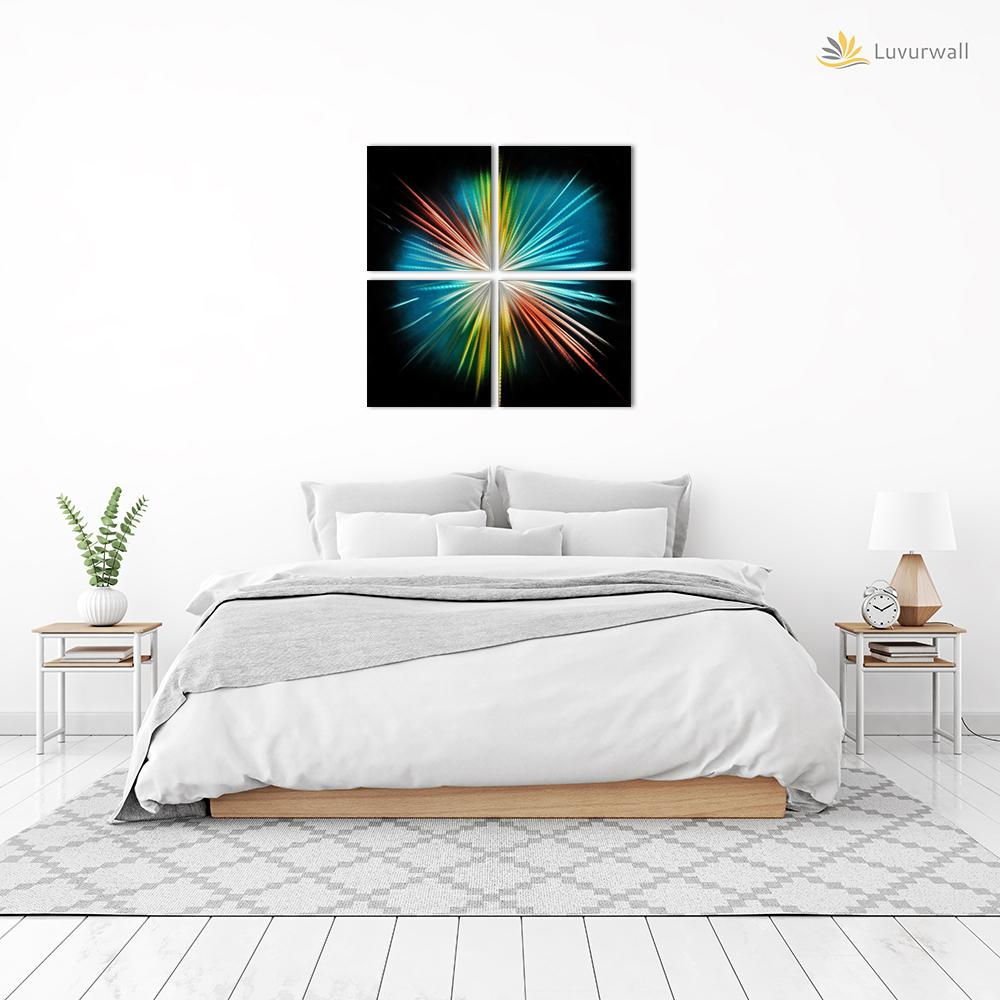 Luvurwall 4 Panel Spark Metal Wall Art, Metal Wall Art - Luvurwall
