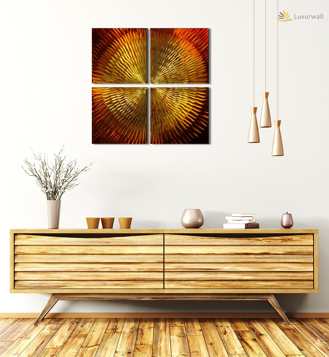 Luvurwall 4 Panel Shining Sun Metal Wall Art, Metal Wall Art - Luvurwall