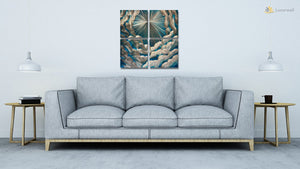 Luvurwall 4 Panel Clouds Metal Wall Art, Metal Wall Art - Luvurwall